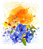 Hibiscus flower & watercolor background poster