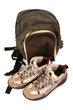 rucksack and boots for excursion