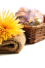 Spa items in a basket