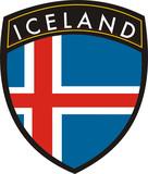 iceland vector crest flag poster