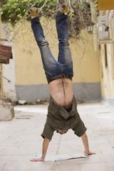 Man doing handstand