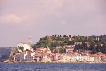 The monumental city Piran in Slovenia