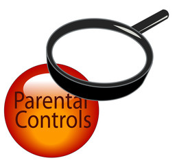 magnifying glass over top of parental controls button..