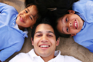 Father Relaxing with Kids