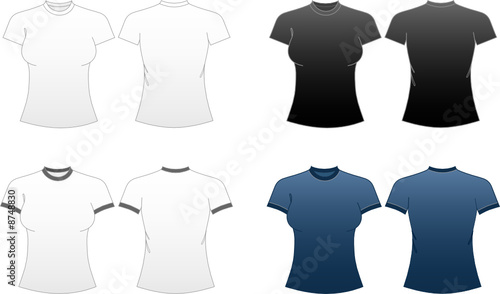 women 39 s fitted t shirt templates roundneck and ringer tees stock image and royalty free vector. Black Bedroom Furniture Sets. Home Design Ideas