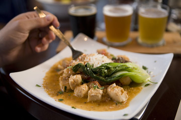 Braised Bok Choy and Curried Chicken Entree