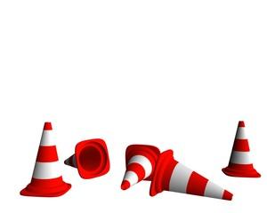 cônes de signalisation rouge