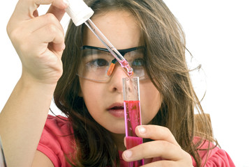 girl in science class
