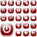 Shiny Buttons Icons Business Internet Website Ruby Red poster