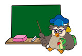 Owl teacher with book and blackboard poster