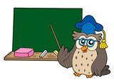 Owl teacher with blackboard poster