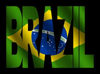 Brazil text with Brazilian flag