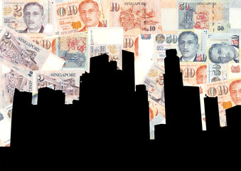 Singapore Skyline with currency