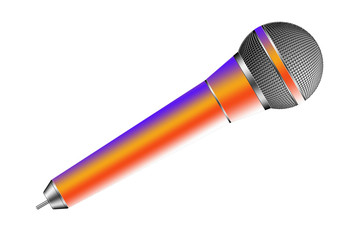 Illustration a multicolor microphone on white backgound