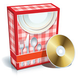 Box with cooking software and CD poster