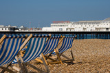 Deckchairs and Brighton Pier poster