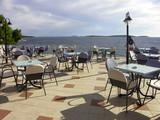 Croatia - Primosten -Terrace in hotel Zora with Adriatic sea poster