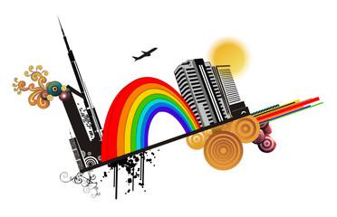 arcoiris en ciudad