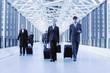 Geschäftsleute mit Gepäck im Terminal