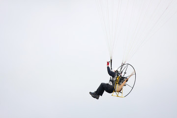 Motor powered paraglider closeup