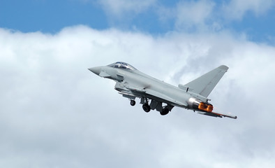 euro fighter: typhoon military jet on take-off