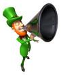Lutin irlandais avec un mégaphone