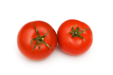 Red tomatoes isolated on the white background