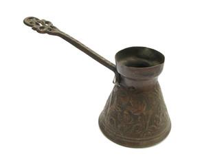Cezve Turkish coffee pot old isolated on white background