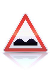Panneau de danger cassis ou dos-d'âne (reflet métal)