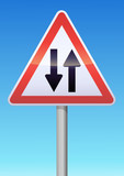 Panneau de danger circulation dans les deux sens poster