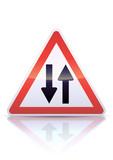 Panneau de danger circulation dans les deux sens (reflet métal) poster