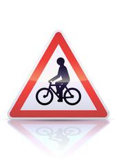 Panneau de danger débouché de cyclistes (reflet métal)