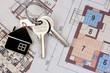 Leinwandbild Motiv Keys with home on blueprints