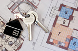 Keys with home on blueprints