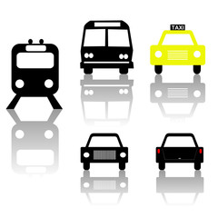 train bus car and taxi silhouettes