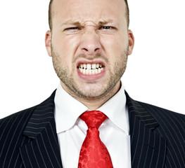 irritated man on isolated background.