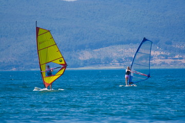 Windsurfers, Bracciano Lake, Italy