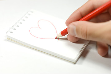 A piece of paper with heart drawing