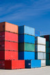 cargo containers - freight stacked at container terminal
