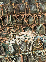 Typical traps to capture shellfish, on the Galicia coast, Spain.