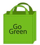 reusable shopping bag encouraging green shopping poster
