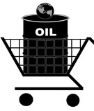 oil barrel in shopping cart with earth - oil crisis concept poster