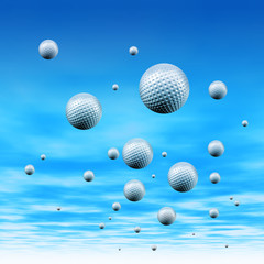 Golf balls in sky