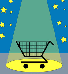 illustration of a shopping cart under the spotlight