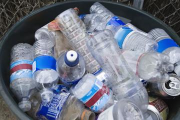 Plastic bottles in bin