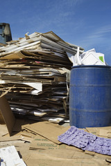 Stacks of cardboard boxes in recycling centre