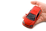 holding car in the hands - insurance or car business concept poster