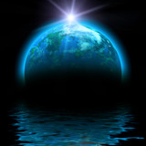 sun rise and planet illustration with reflections poster