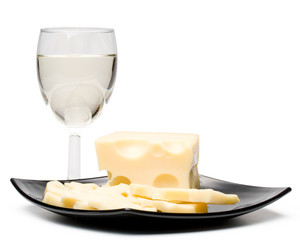 Wine in a glass and cheese