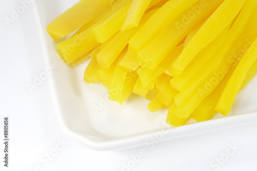 Yellow Pickled Radish Found in Japanese Dishes